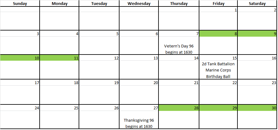 2nd Marine Division > Units > 2nd Tank BN > Calendar of Events